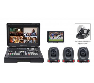 Datavideo HS-1600T-3C150TM Portable Web Production Bundle with 3x HDBaseT Cameras